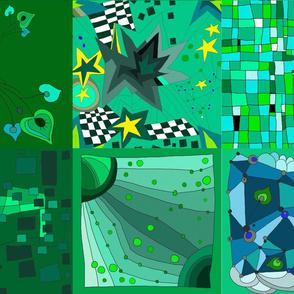 Green modern patchwork