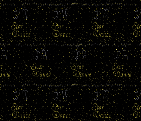 Star Dance - Yellow Stars and Dancers on Black Background