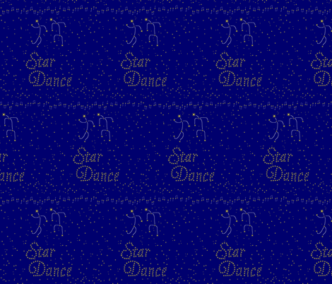 Star Dance - Yellow Stars and Dancers on Blue Background fabric by zephyrus_books on Spoonflower - custom fabric