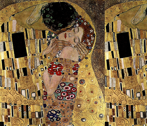 Gustav Klimt's The Kiss (Detail) 1908 fabric by zephyrus_books on Spoonflower - custom fabric