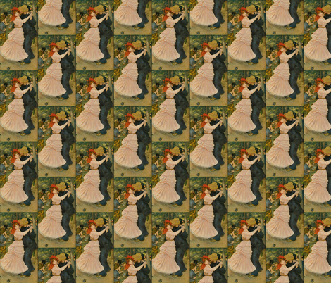 Pierre-Auguste Renoir's Dance at Bougival 1883 fabric by zephyrus_books on Spoonflower - custom fabric