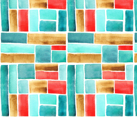 Texas Modern Crop Squares Turquoise fabric by jacinda on Spoonflower - custom fabric
