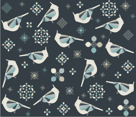 Petit Birds fabric by poppy_&_red on Spoonflower - custom fabric