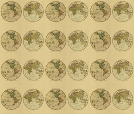 1786 World Map by William Faden fabric by zephyrus_books on Spoonflower - custom fabric