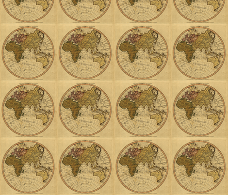 1786 Eastern Hemisphere Map by William Faden fabric by zephyrus_books on Spoonflower - custom fabric