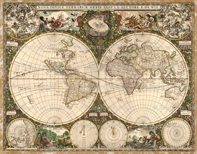 1660 World Map by Dewit