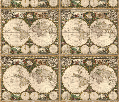 1660 World Map by Dewit fabric by zephyrus_books on Spoonflower - custom fabric
