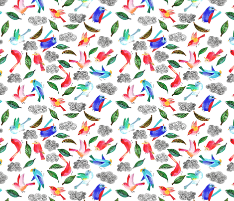 amour d oiseau semi M fabric by nadja_petremand on Spoonflower - custom fabric
