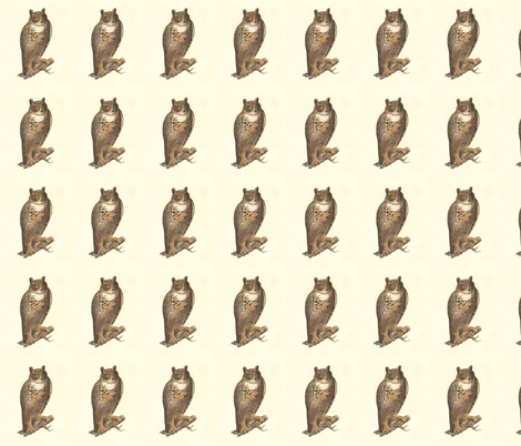 The Great Horned Owl - Vintage Bird / Birds of Prey Print fabric by zephyrus_books on Spoonflower - custom fabric