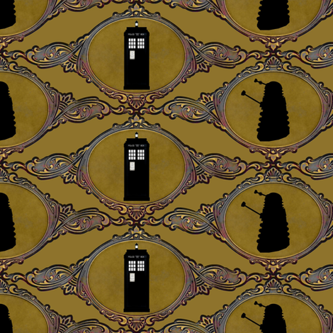 dalaks_and_tardis_small size fabric by vo_aka_virginiao on Spoonflower - custom fabric