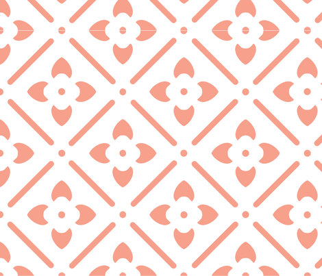 Flower Medallion-Coral fabric by leahvanlutz on Spoonflower - custom fabric