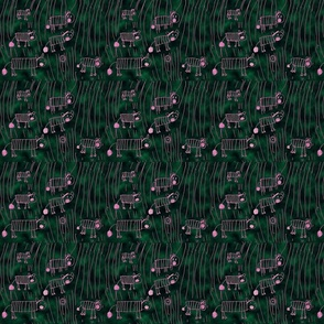 Zebras by Aurora in pink & green