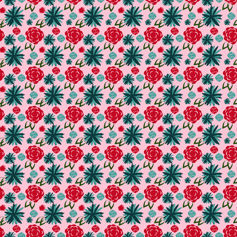 Retro Dahlia fabric by kimannjac on Spoonflower - custom fabric
