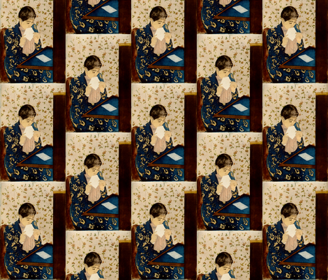 Mary Cassatt's The Letter 1891 fabric by zephyrus_books on Spoonflower - custom fabric