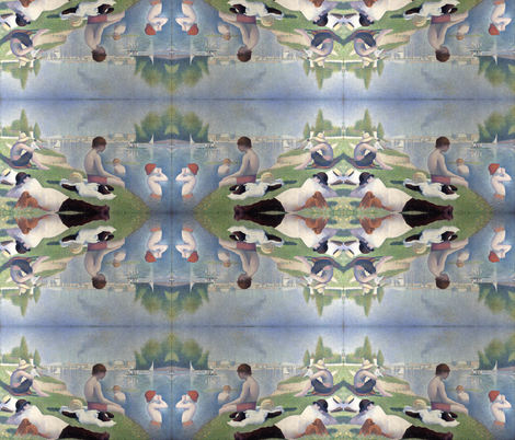 Georges Seurat's Bathers at Asnières 1884 fabric by zephyrus_books on Spoonflower - custom fabric