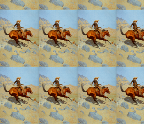 Frederic Remington's The Cowboy 1902 fabric by zephyrus_books on Spoonflower - custom fabric