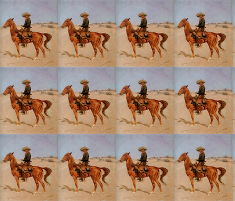 Frederic Remington's The Puncher 1895 fabric by zephyrus_books on Spoonflower - custom fabric