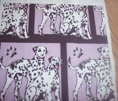 two dalmatians with paw prints