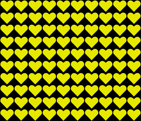 Yellow on Black Hearts fabric by zephyrus_books on Spoonflower - custom fabric