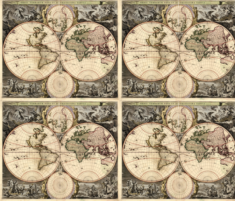 1690 World Map by Visscher fabric by zephyrus_books on Spoonflower - custom fabric