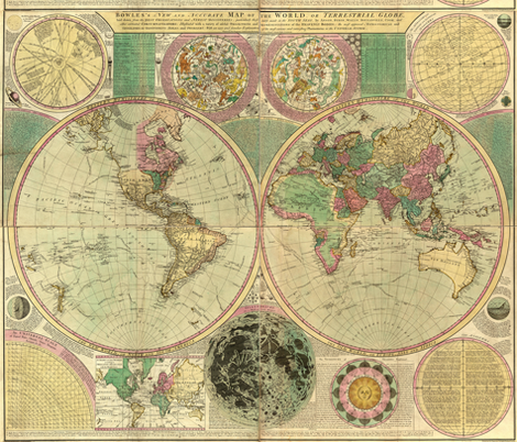 1780 World Map by Bowles fabric by zephyrus_books on Spoonflower - custom fabric