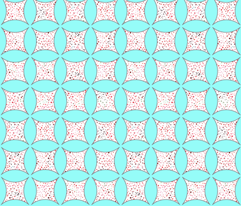 watercolor cathedral window teal dots pattern fabric by katarina on Spoonflower - custom fabric
