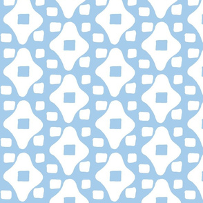 Wonky Moroccan Square (deep sky blue &amp; white)
