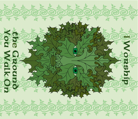 Greenman Banner fabric by ingridthecrafty on Spoonflower - custom fabric