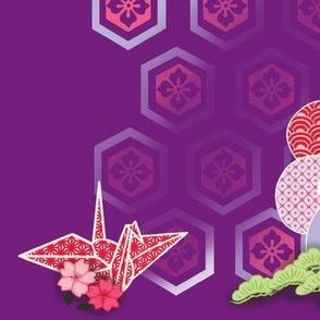 Cranes and Flowers Murasaki