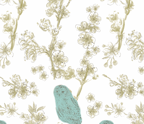 owls in bloom fabric by einekleinedesignstudio on Spoonflower - custom fabric