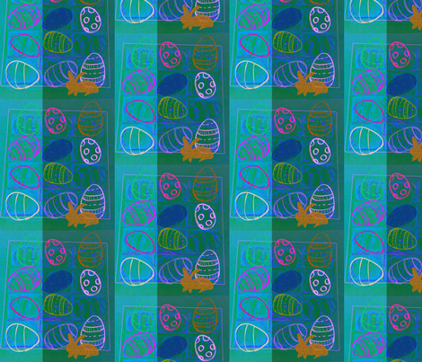 Happy Easter Blue  by evandecraats, march 31, 2012 fabric by _vandecraats on Spoonflower - custom fabric
