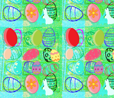Happy Easter Multicolour  by evandecraats, march 31, 2012 fabric by _vandecraats on Spoonflower - custom fabric