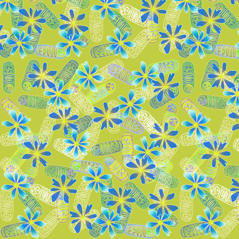 Mighty Mitochondria - Blue fabric by glimmericks on Spoonflower - custom fabric