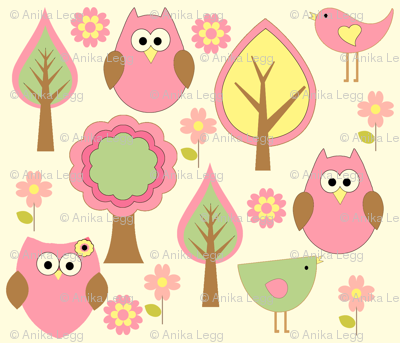 Forest Animals in Pink