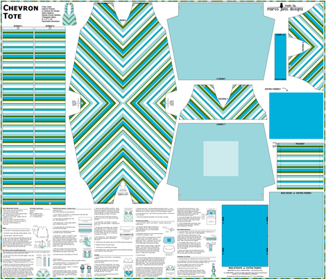 Chevron Tote - Blues/Green fabric by marcojanedesigns on Spoonflower - custom fabric