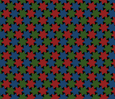 Repeating Stars - Dark Blue Red and Green Stars on Black fabric by zephyrus_books on Spoonflower - custom fabric