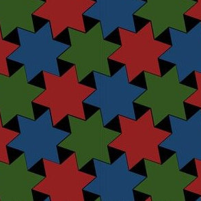 Repeating Stars - Dark Blue Red and Green Stars on Black