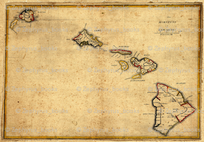 1837 Map of The hawaiian Islands by Kalama