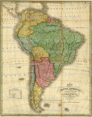 1826 Map of South America by Finley
