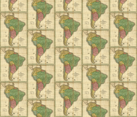 1826 Map of South America by Finley fabric by zephyrus_books on Spoonflower - custom fabric