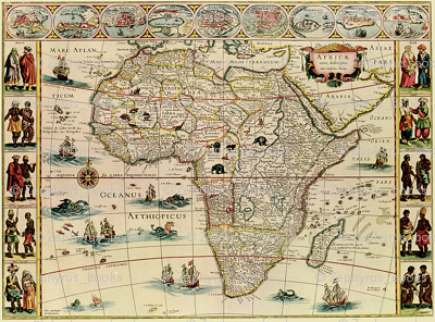 1660 Map of Africa Blaeu