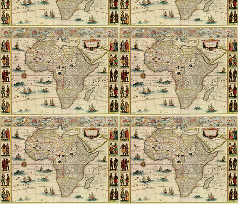 1660 Map of Africa Blaeu fabric by zephyrus_books on Spoonflower - custom fabric