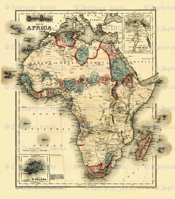 1874 Map of Africa by Gray