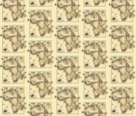 1874 Map of Africa by Gray fabric by zephyrus_books on Spoonflower - custom fabric