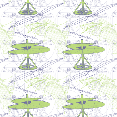 daVinci Fliers (white/sm) fabric by jjtrends on Spoonflower - custom fabric