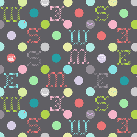 sewing celebration dots grey fabric by katarina on Spoonflower - custom fabric