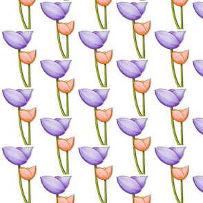 Simple Flowers purple orange