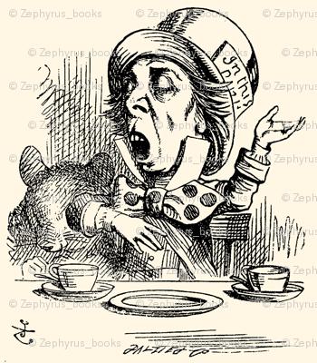 The Mad Hatter engaging in rhetoric, illustration by John Tenniel