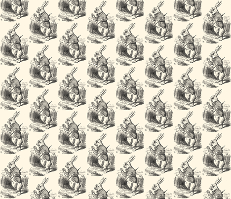 The White Rabbit checks his watch, illustration by John Tenniel fabric by zephyrus_books on Spoonflower - custom fabric