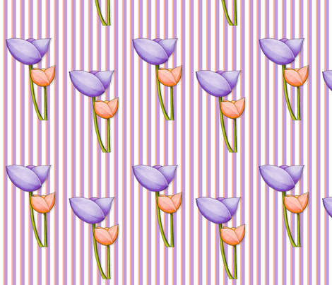 Simple Flowers purple orange on Stripes fabric by floating_lemons on Spoonflower - custom fabric